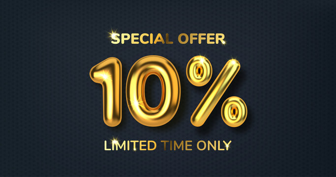 10 off discount promotion sale made of realistic 3d gold balloons. Number in the form of golden balloons. Template for products, advertizing, web banners, leaflets, certificates and postcards. Vector