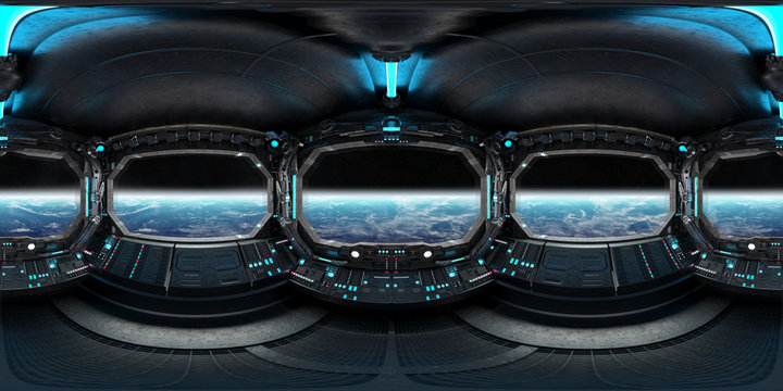 High resolution HDRI panoramic view of dark spaceship interior. 360 panorama reflection mapping of a futuristic spacecraft room 3D rendering