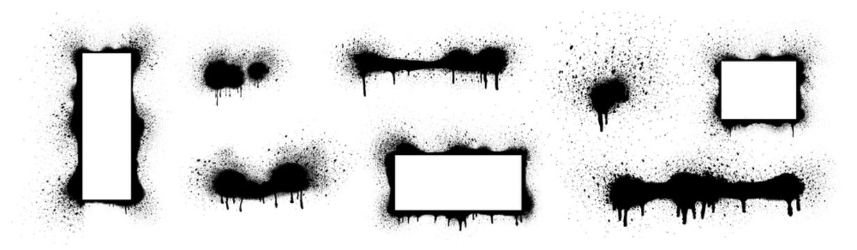 Collection of black paint. Spray Paint Elements, Vector brush stroke, Black splashes set, Black grunge with frame, Dirty artistic design elements, ink brush strokes, boxes, lines, frames for text.