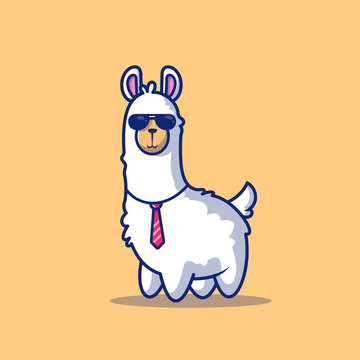 Cute Business Llama Vector Icon Illustration. Alpaca Mascot Cartoon Character. Animal Icon Concept White Isolated. Flat Cartoon Style Suitable for Web Landing Page, Banner, Flyer, Sticker, Card