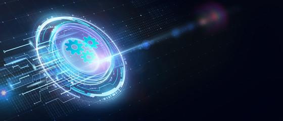 Fototapeta Business, Technology, Internet and network concept. Automation Software Technology Process System. obraz
