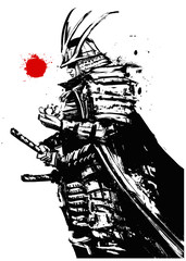 A thoughtful samurai in armor and helmet, with a Lotus flower in his hand, stands in profile against the red sun. 2D illustration