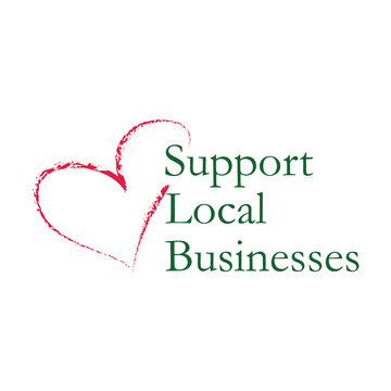 Support local small businesses logo. Green label with red chalk heart illustration. Isolated vector element on white background.