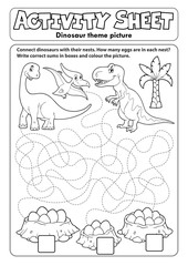 Photo sur Plexiglas Enfants Activity sheet dinosaur theme 1