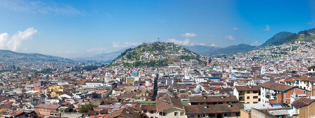 Large panorama of Quito with the Panecillo, Ecuador