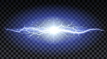 Lightning strikes and sparks, electrical energy on transparent background. Lightning flash and spark. Vector neural cells system.