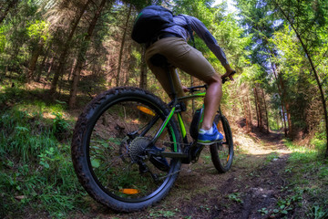 Man on electro mountain bike at trail in forest