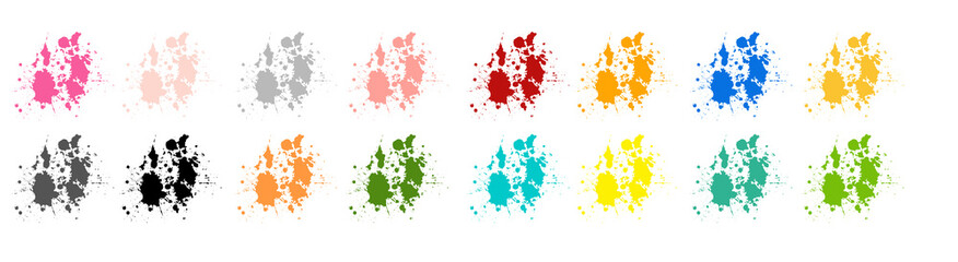 concept set logo brush stroke paint watercolor splash splatter and ink pastel pink red black gray grey green blue and yellow color for design logo and sale banner or design texture and background.