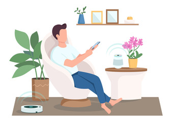 Guy in modern living room flat color vector faceless character. Man using smart speaker and vacuum cleaner. Internet of things isolated cartoon illustration for web graphic design and animation