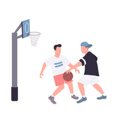 Street basketball players flat color vector faceless characters. Guys in sportswear uniform isolated cartoon illustration for web graphic design and animation. Recreational sport, college activities