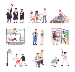 University students flat color vector faceless characters set. Students isolated cartoon illustrations on white background. College lifestyle. Studying, dormitory, sport, communication and graduation