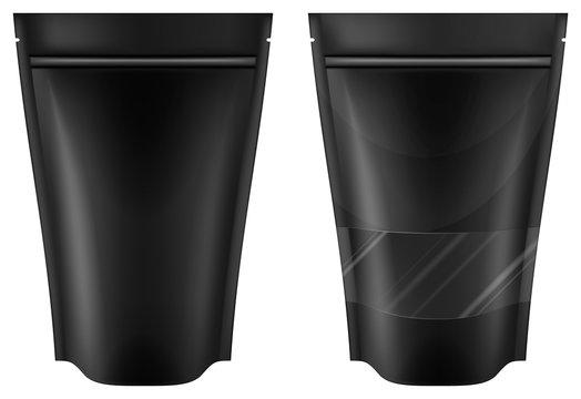Black plastic bag package. Vector illustration.