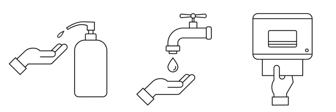 How to wash hands safely instructions. Hand washing procedure thin line icon. Steps: use soap, scrub, rinse and dry. Soap dispenser, faucet and paper towels. Vector illustration, flat style, clip art