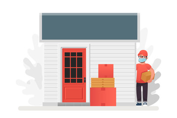 Vector illustration No contact delivery. Entrance and shipping boxes. Order left near the door service. Self isolation and quarantine lifestyle. Wall mural