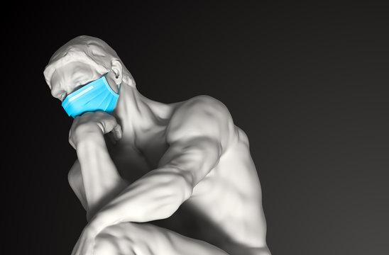 Sculpture Thinker In Medical Mask. Concept Of Coronavirus Quarantine.