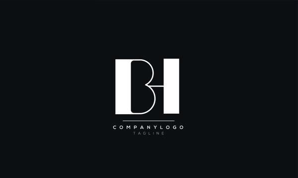 BH HB B H Letter logo alphabet monogram initial based icon design