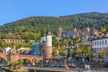 Fototapete - View of the Heidelberg, Germany