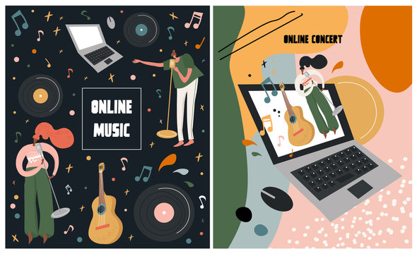 Music fest, concept of live online music translation, jazz and country, event poster and banner. Set of bright vector illustration with singers on the topic of online concert. Broadcast music event.