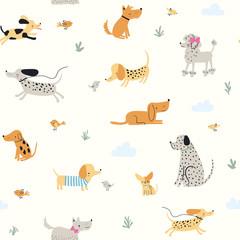 Cute little dogs. Vector seamless pattern