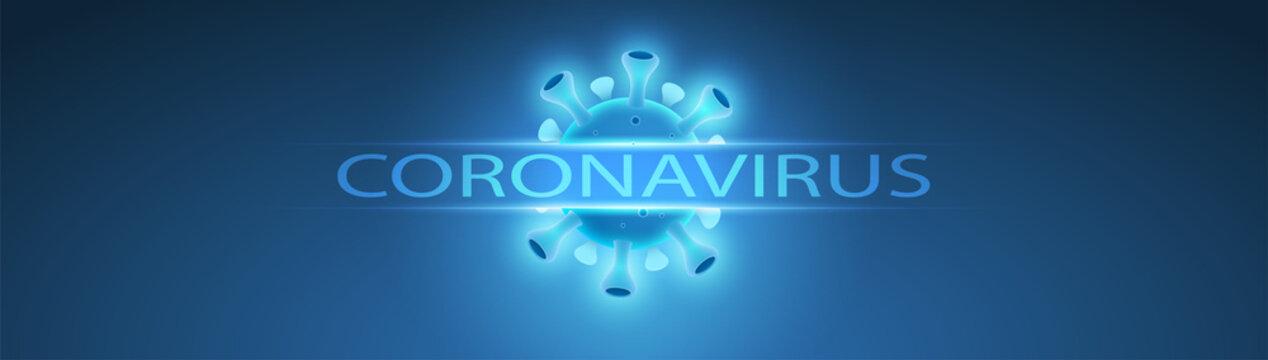 carte ou bandeau sur le coronavirus en bleu avec le dessin d'un virus sur fond bleu en dégradé