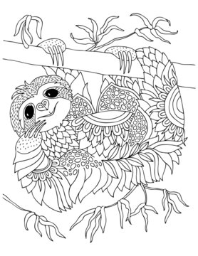 Cute smiling sloth hanging on tree branch. Hand drawn lovely sloth for adult coloring page. Vector illustration. May be used for print on t-shirt, wallpaper or poster.
