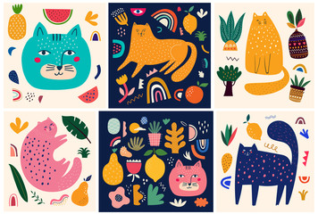 Fototapete - Cute spring collection with cats. Decorative abstract posters with colorful cats. Hand-drawn modern illustrations with cats and flowers. Set of art posters and cards
