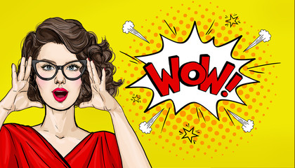 Photo on textile frame Pop Art Surprised Pop Art woman in hipster glasses. Advertising poster or party invitation with sexy club girl with open mouth in comic style. Presenting your product. Expressive facial expressions