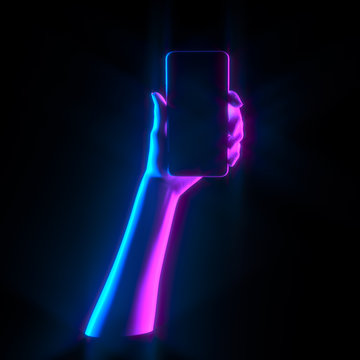 Mobile Phone hold, neon duotone hand holding smart phone isolated on black, futuristic female hand statue with smartphone 3d illustration.