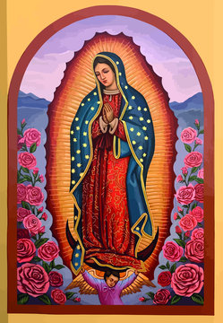 lady of guadalupe mexico saint holy faith illustration religious culture roses