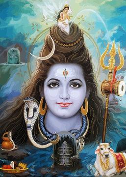 lord shiva god  hinduism ox snake  animal spiritual illustration holy