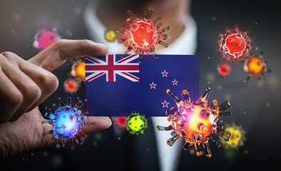 Corona Virus Around New Zealand Flag. Concept Pandemic Outbreak in Country