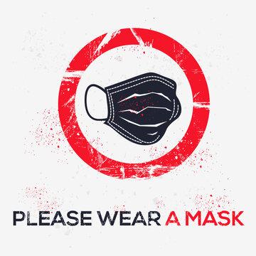 Warning sign (please wear a mask), vector illustration.