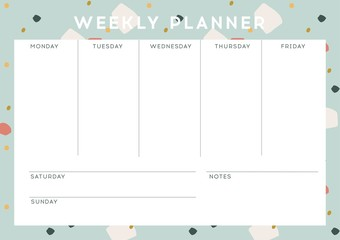 Weekly planner with abstract pattern design, vector. Modern design.
