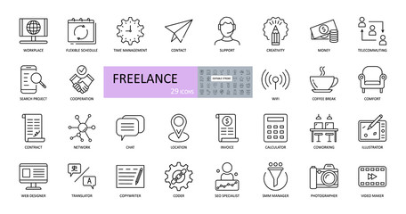 Freelance icons. Editable stroke vector set includes workplace, flexible schedule, project search, comfort, time management, money, telecommuting, creativity, money, support, network, contact, wifi
