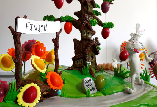View of a pastoral scene complete with chocolate tree and Easter eggs in La Hulpe