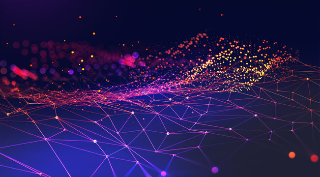 Neural network 3D illustration. Abstract Big data concept. Global database and artificial intelligence. Bright, colorful background with bokeh effect