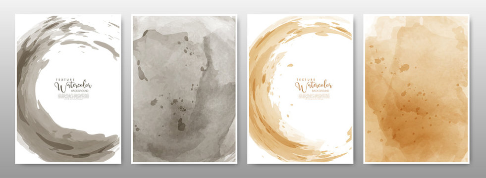 Set of background watercolor earth tone