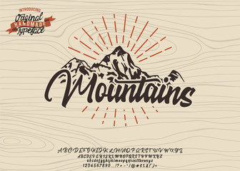 Mountains. Expedition. Original handmade typeface. Stylish font and logo to create prints and posters. Wall mural