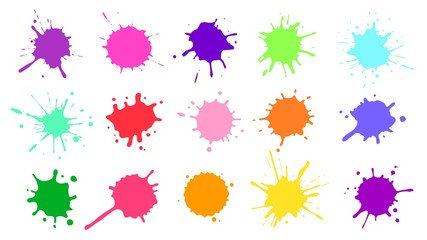 Color paint splatter. Colorful ink stains, abstract paints splashes and wet splats. Watercolor or slime stain vector set. Colorfull stain and splash, splat messy, inkblot splashing illustration