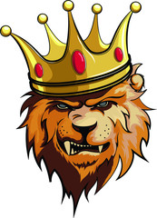Fototapete - lion, king with crown vector illustration