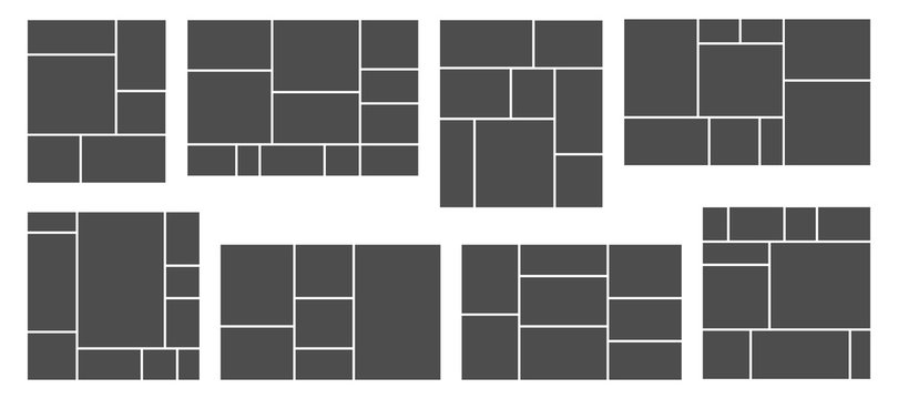 Square photo collage. Photos grid template, rectangular frame and pictures composition vector templates set. Collage image photo, pattern montage frame photography illustration