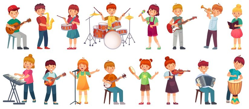 Cartoon kids play music. Talented kid playing on musical instrument, music school lessons. Young singer, children musician vector illustration set. Musician with microphone, music education