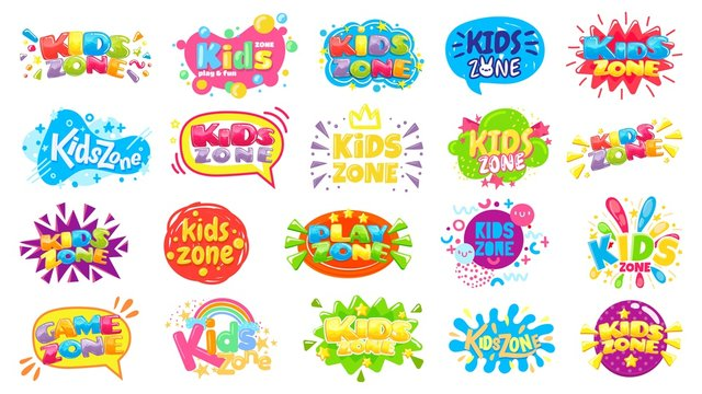 Kids zone badges. Kid play room label, colorful game area banner and funny badge vector set. Play zone area for child, children room emblem illustration