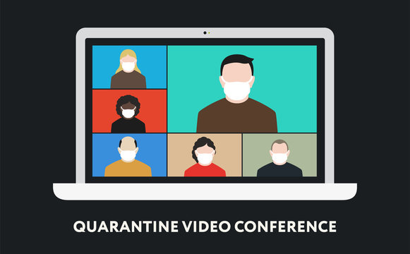 Quarantine Coronavirus. Video Conference Call. Group of People Face Mask Talking on Computer Laptop Screen Web Camera. Stay Home Quarantine.