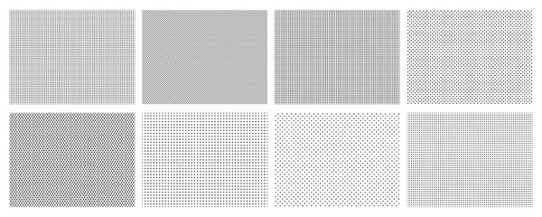 Seamless halftone dots pattern. Dotted mosaic, sport textile texture and row holes grid vector background patterns set. Halftone wallpaper, graphic point polka illustration