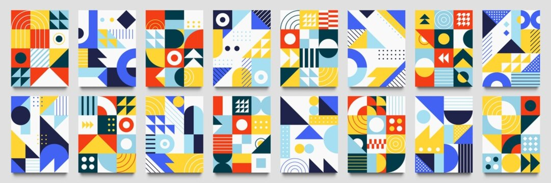 Abstract geometric backgrounds. Neo geo pattern, minimalist retro poster graphics vector illustration set. Abstract pattern trendy with square and round colored