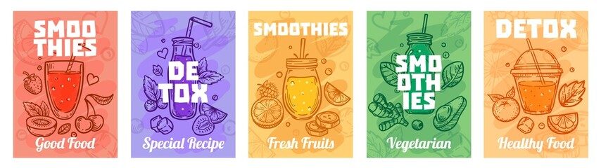 Detox smoothie poster. Good food smoothies, juices for healthy lifestyle and colorful fresh juices vector illustration set. Healthy fresh smoothie, glass detox, vegan beverage Wall mural