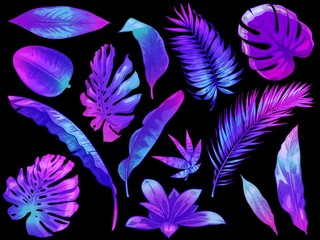 Wall Mural - Neon tropical leaves. Color exotic tree and plant leaf, colorful palm leaves hand drawn vector illustration set. Leaf floral tropical, rainforest foliage exotic, fashion botanical