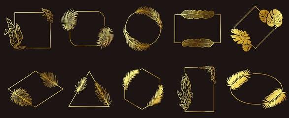 Wall Mural - Golden leafs frames. Gold floral frame, tropical leaves jewelry label and leaves borders vector set. Floral leaf golden, decoration frame badge, wedding border illustration