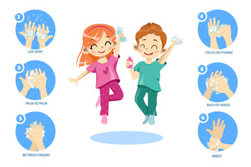 Concept Of Kids Personal Hygiene. Infographic Icons With Rules Showing How To Wash Hands Properly. Happy Children Boy And Girl Washing Their Hands With Soap. Cartoon Flat Style. Vector Illustration